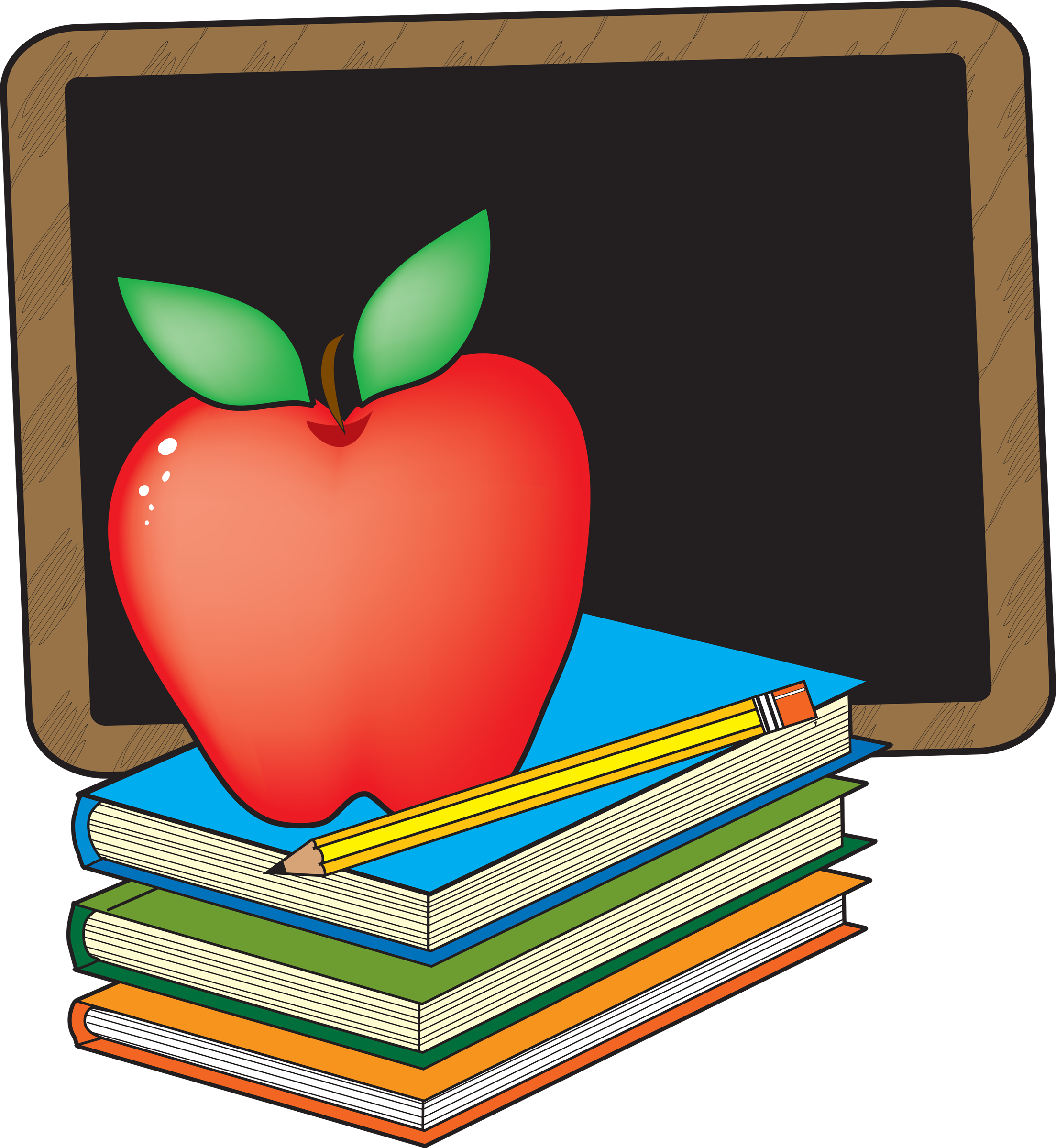 Clip Art Apple And Books School Clipart The Cliparts - Chalkboard And Apple Clipart (2208x2400)