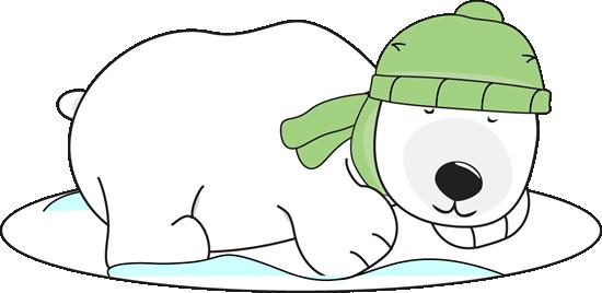 Polar Bear Sleeping In The Snow Clip Art - Winter Polar Bear Clipart (550x268)