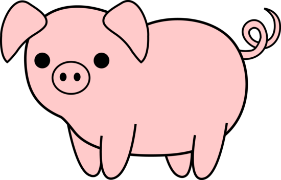 Pig Clipart Farm Animal - Pig Black And White (550x352)