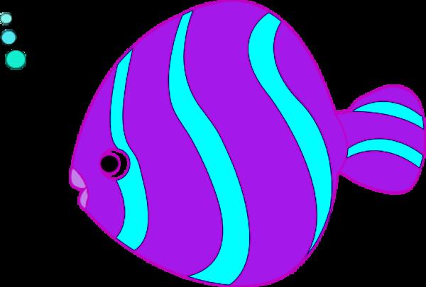 Teal Fish Cliparts - Fish Clipart Purple (600x405)
