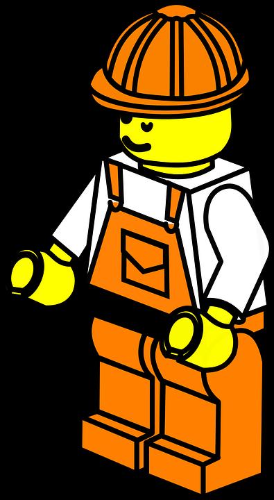 Construction Worker Clipart - Clipart Lego Construction Worker (395x720)