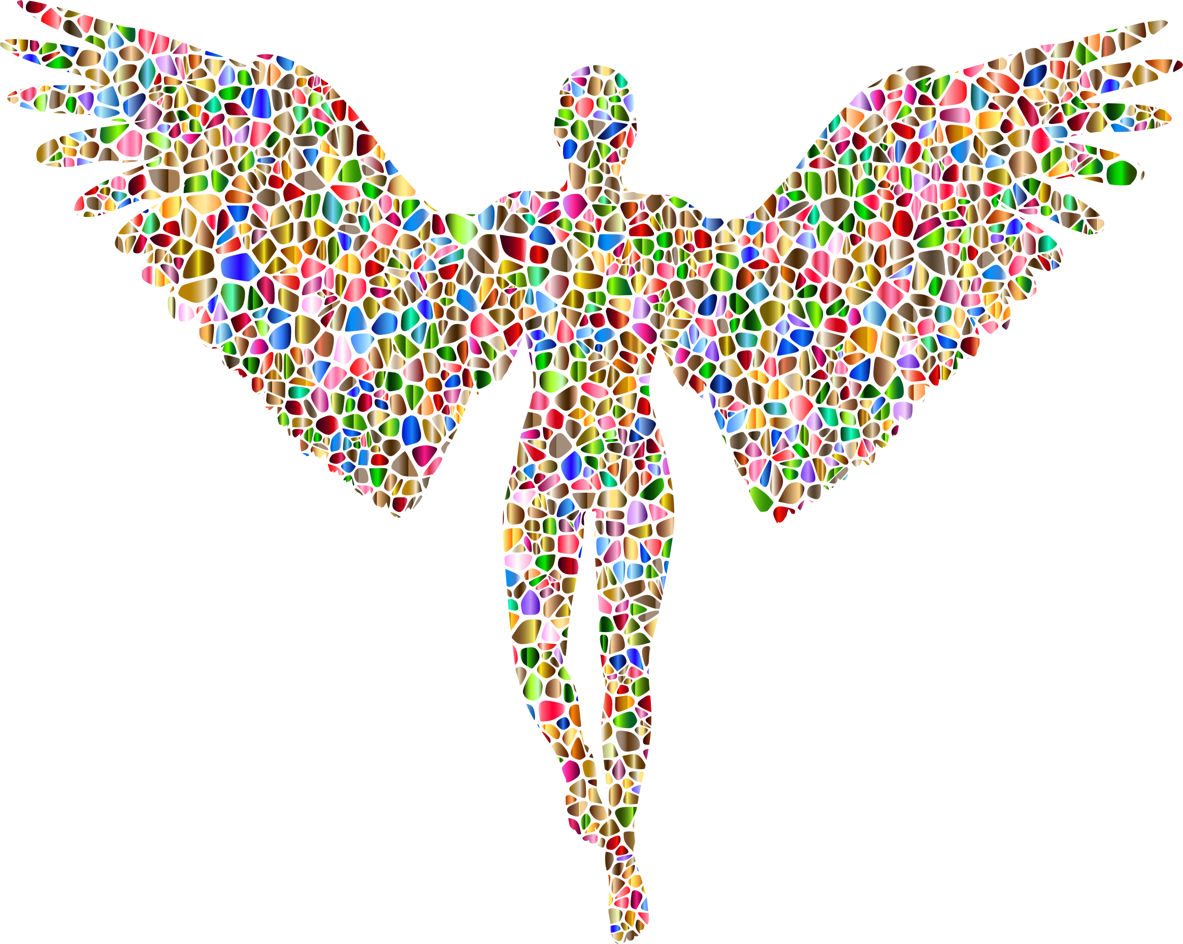 Chromatic Tiled Angel Silhouette No Background Icons - Angel Logo No Background (2330x1858)