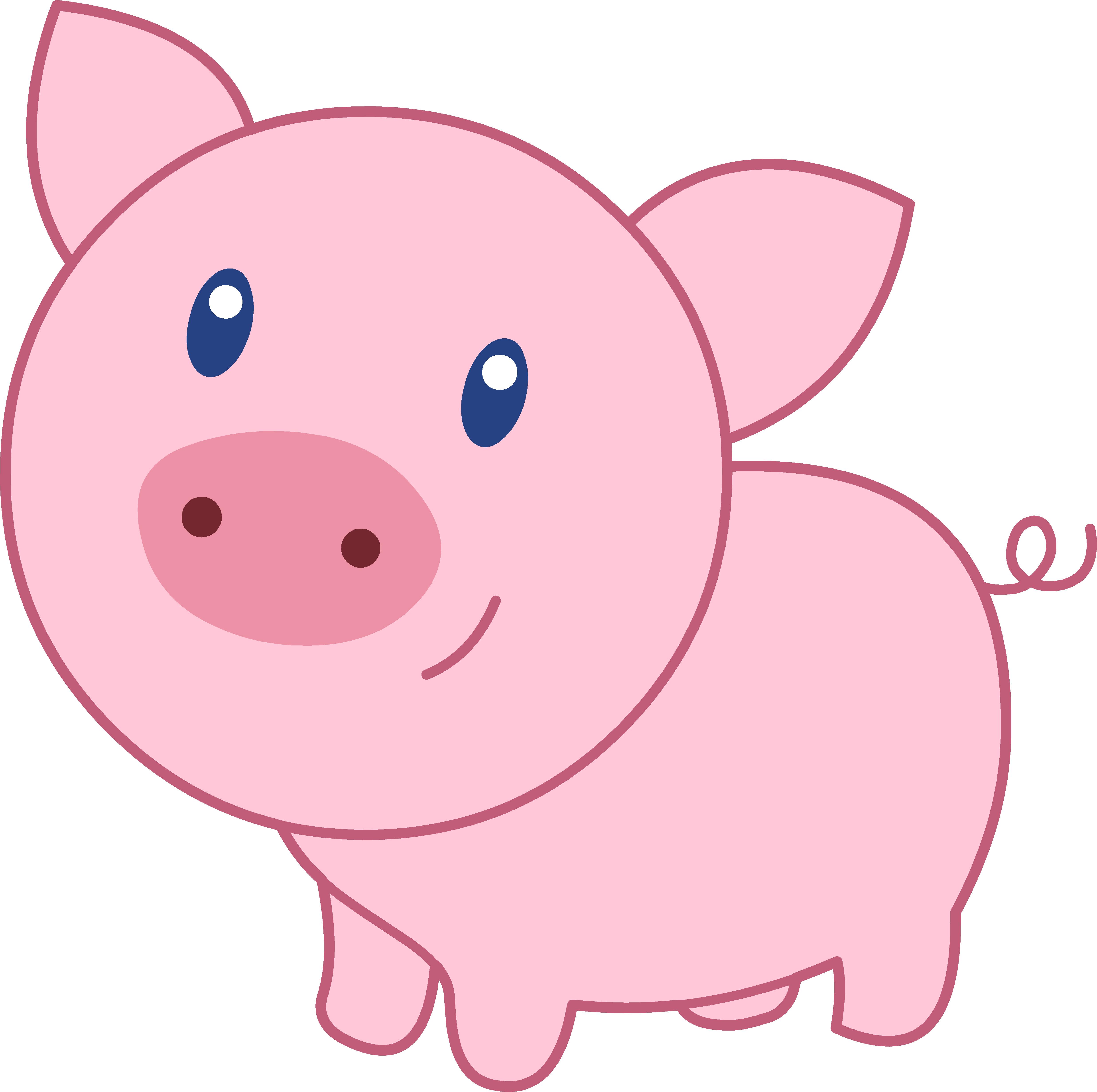 Cute Cartoon Pig Clipart - Cute Cartoon Pig Face (4945x4925)