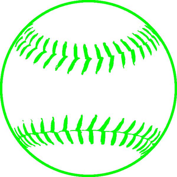 Green Softball Clip Art - Baseball Clipart (600x600)