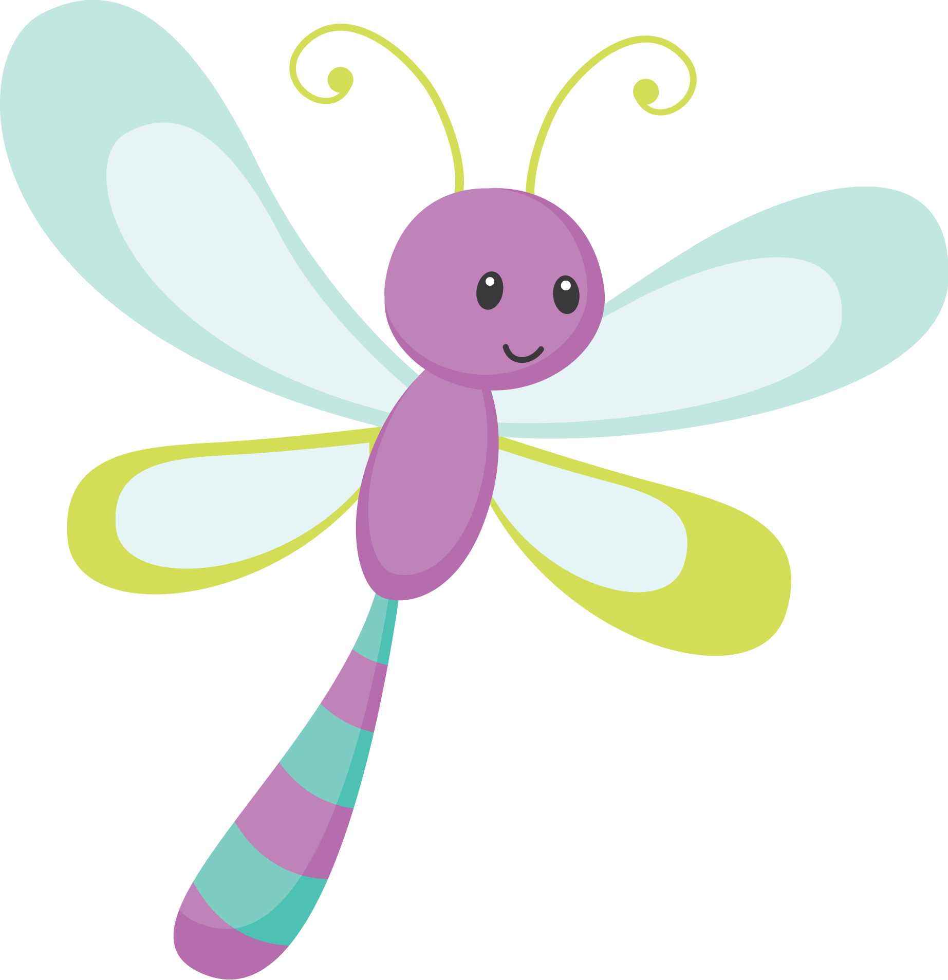 Say Hello - Cute Dragonfly Png (1845x1907)