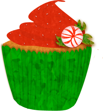 Cake Clipart December - Christmas Cupcake Clip Art (355x383)