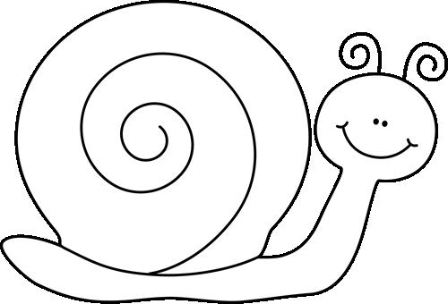 Black And White Snail Clip Art - Black And White Snail Clipart (500x340)