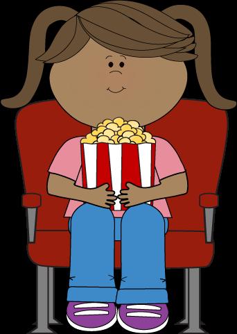 Girl Watching Movie In Theater - Cartoon Girl Watching Movie (342x481)