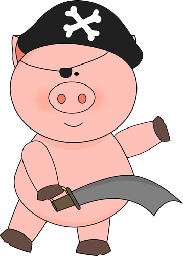 Pig Pirate With A Sword - Pig With Eye Patch (358x500)