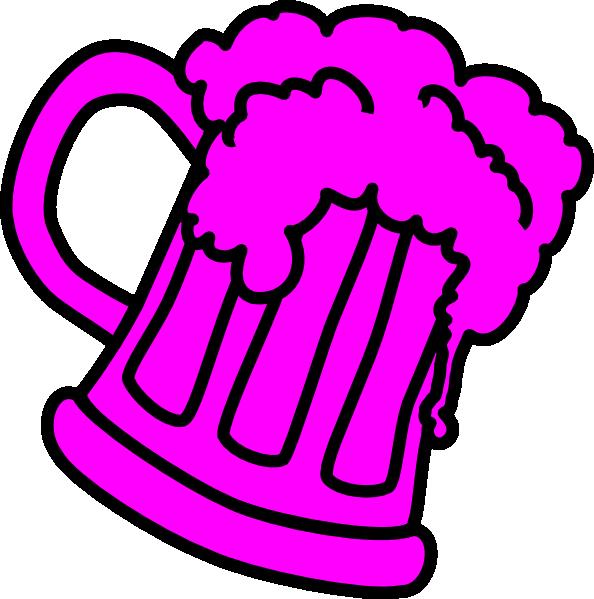 Pink Outline Beer Mug Clip Art - Clip Art (594x599)