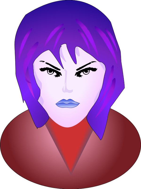 Mad Face Woman Angry Face Vector Clip Art - Smiley Femme Fatale Face 1 25 Magnet Emoticon (600x802)