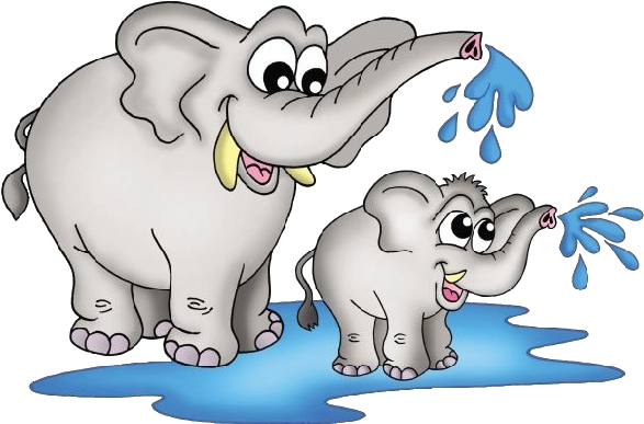 Mother And Baby Elephant Clipart - Elephant With Baby Clipart (600x600)