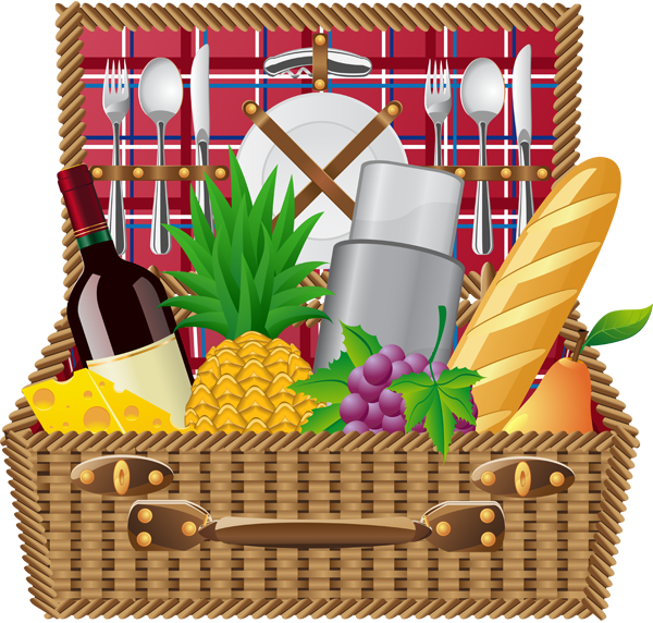 Picnic Basket Picnic Blanket And Basket Clip Art Info - Clipart Picnic Basket (600x572)