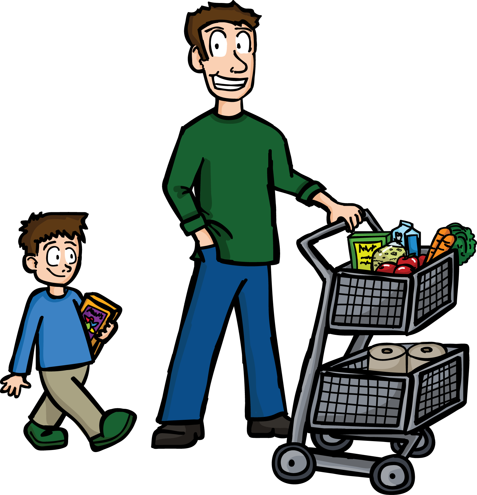 Shopping Dad - Clipart Buying Food (1611x1672)