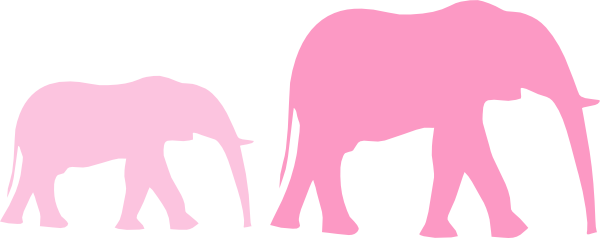 Pink Baby Shower Elephant Mom And Baby Clip Art - Elephant Clip Art (600x238)