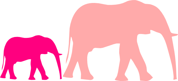 Pink Baby Shower Elephant Mom And Baby Clip Art - Elephant Clip Art (600x274)