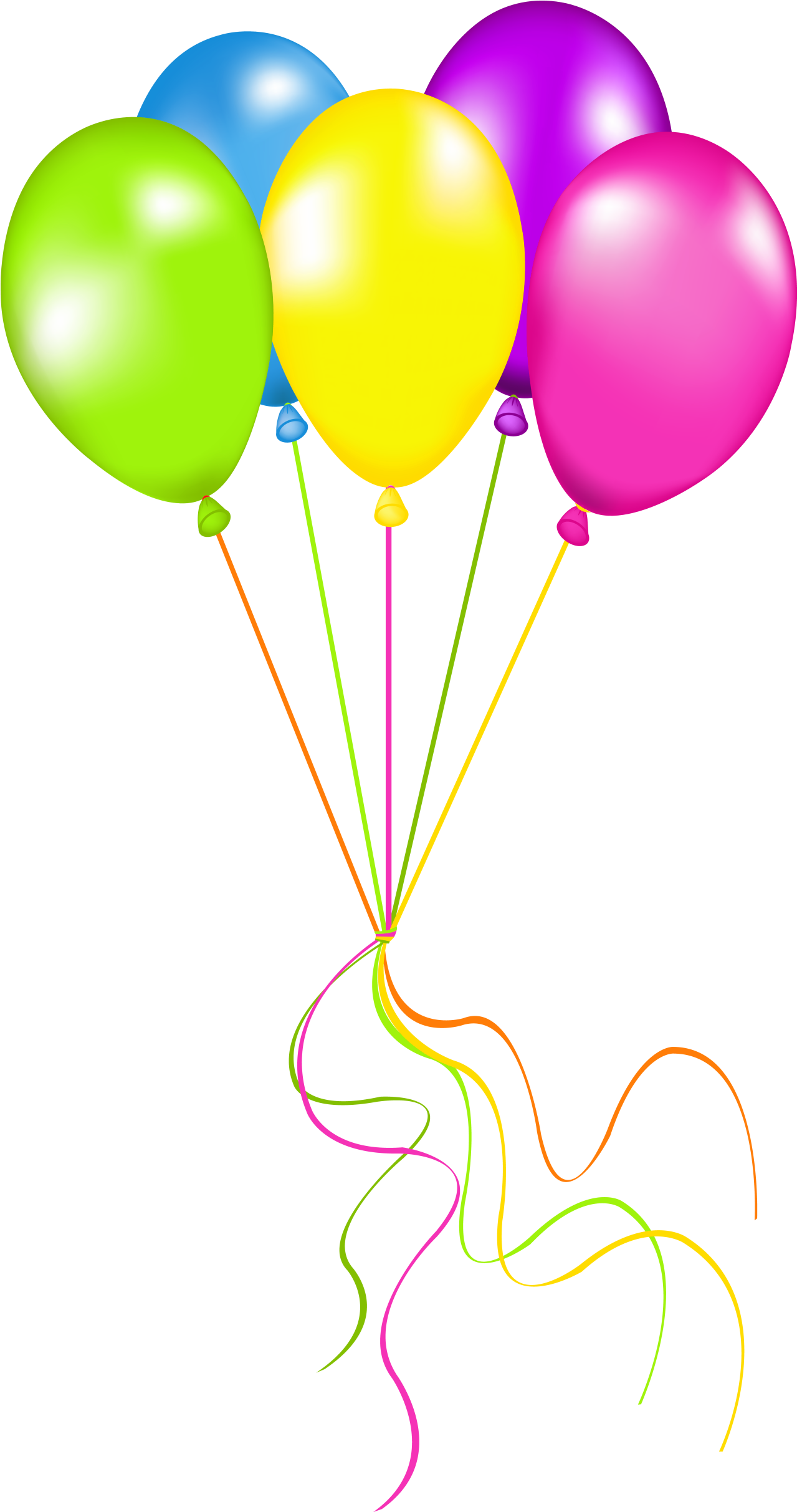 Birthday Clipart, Card Birthday, Birthday Wishes, Happy - Neon Balloons Clipart (1314x2464)