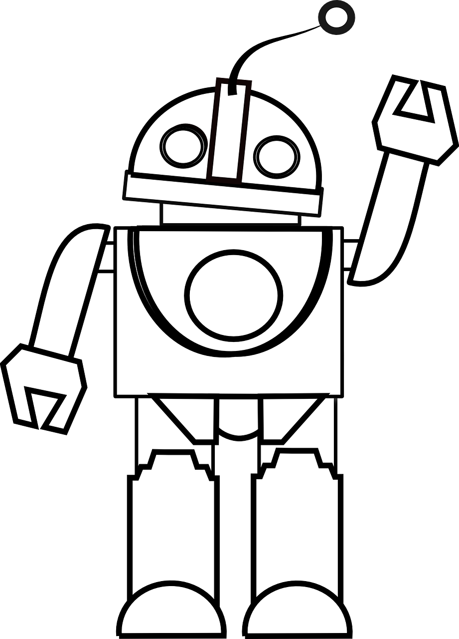 Toy Clipart Black And White - Robot Black And White Clipart (921x1280)