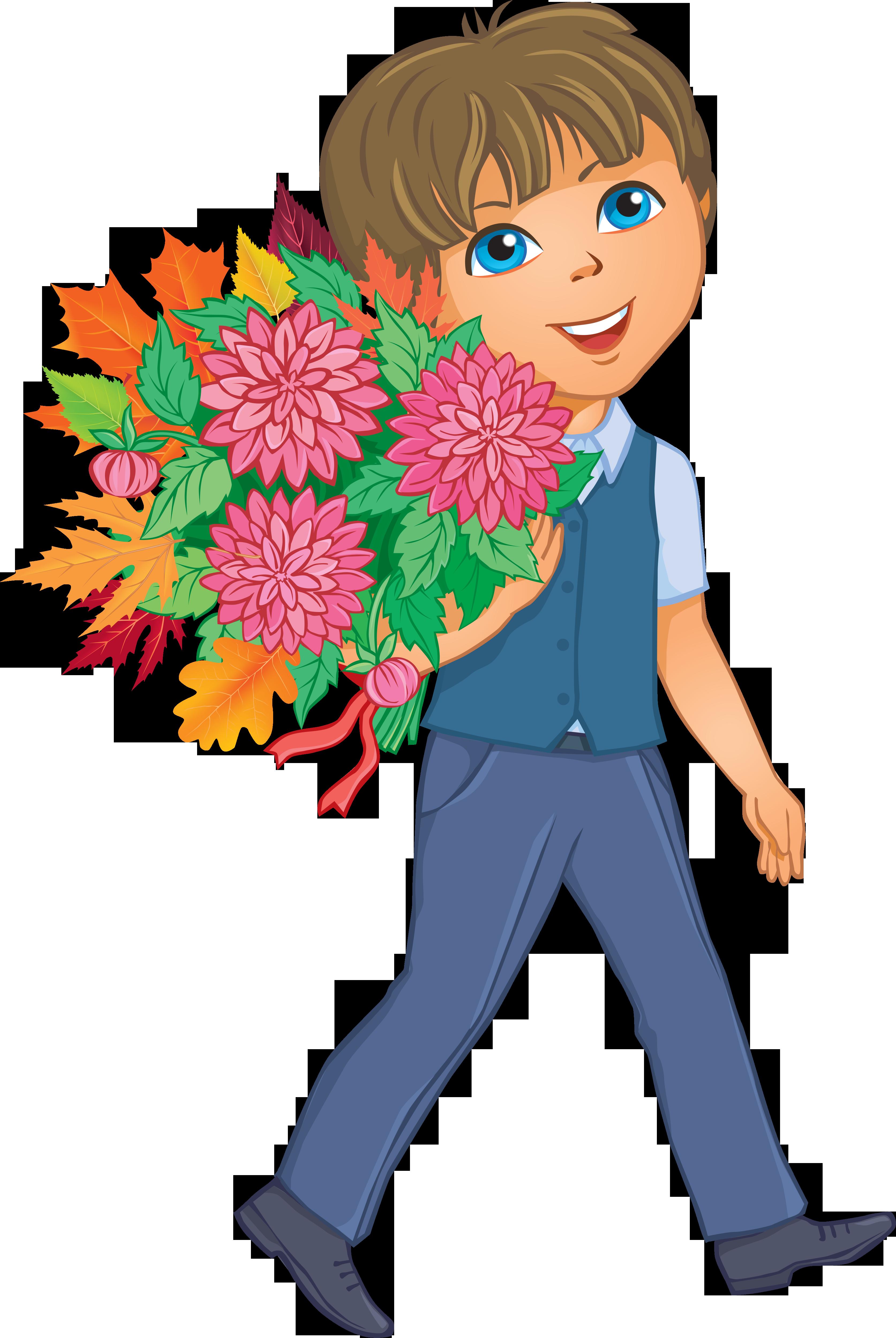 Картинки мальчик с цветами нарисованный