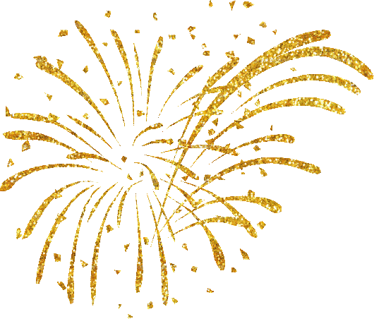 Happy New Year Fireworks Clipart - Gold Fireworks White Background (530x452)