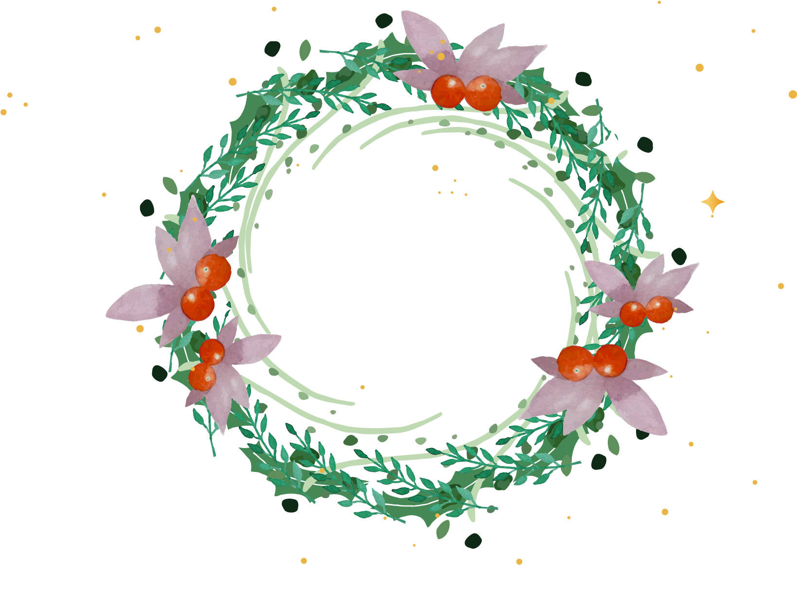 Wreath Christmas Garland Watercolor Painting - Transparent Green Flower Circle (1894x1325)