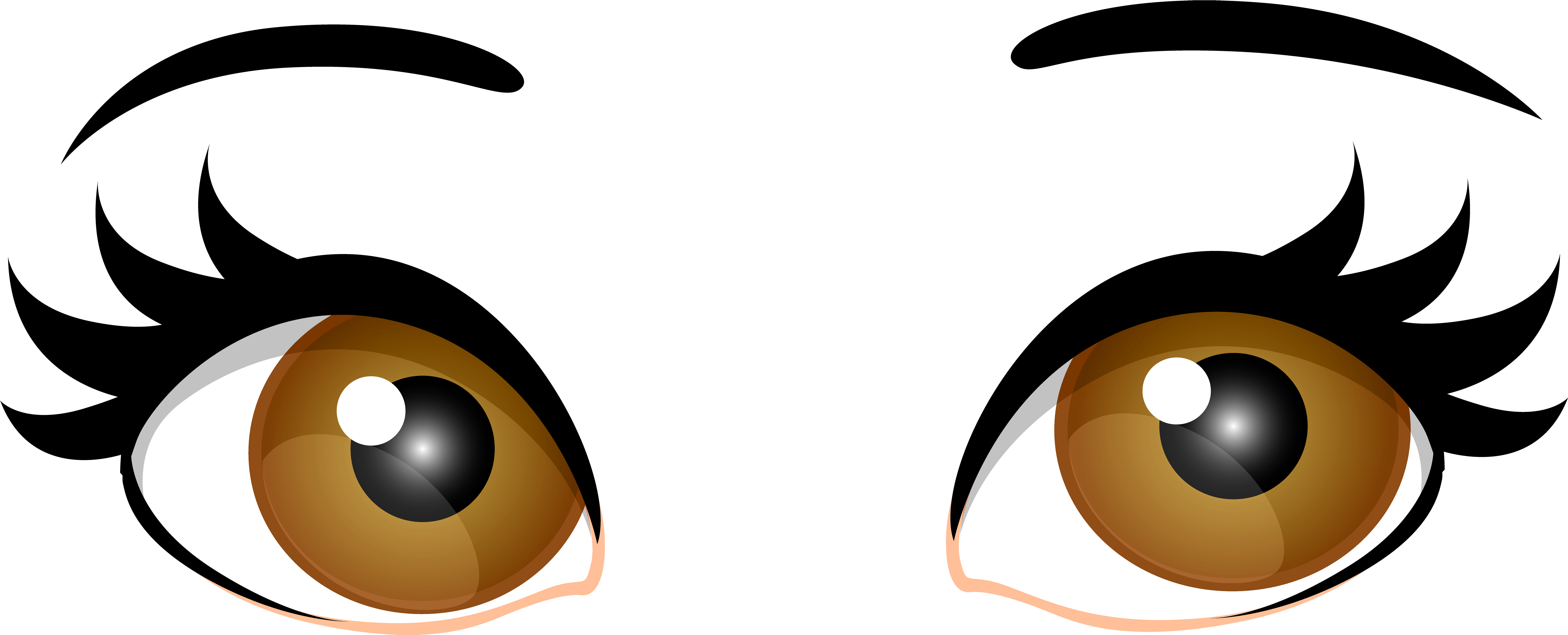 Brown Female Eyes Png Clip Art - Brown Eyes Transparent (7000x2837)