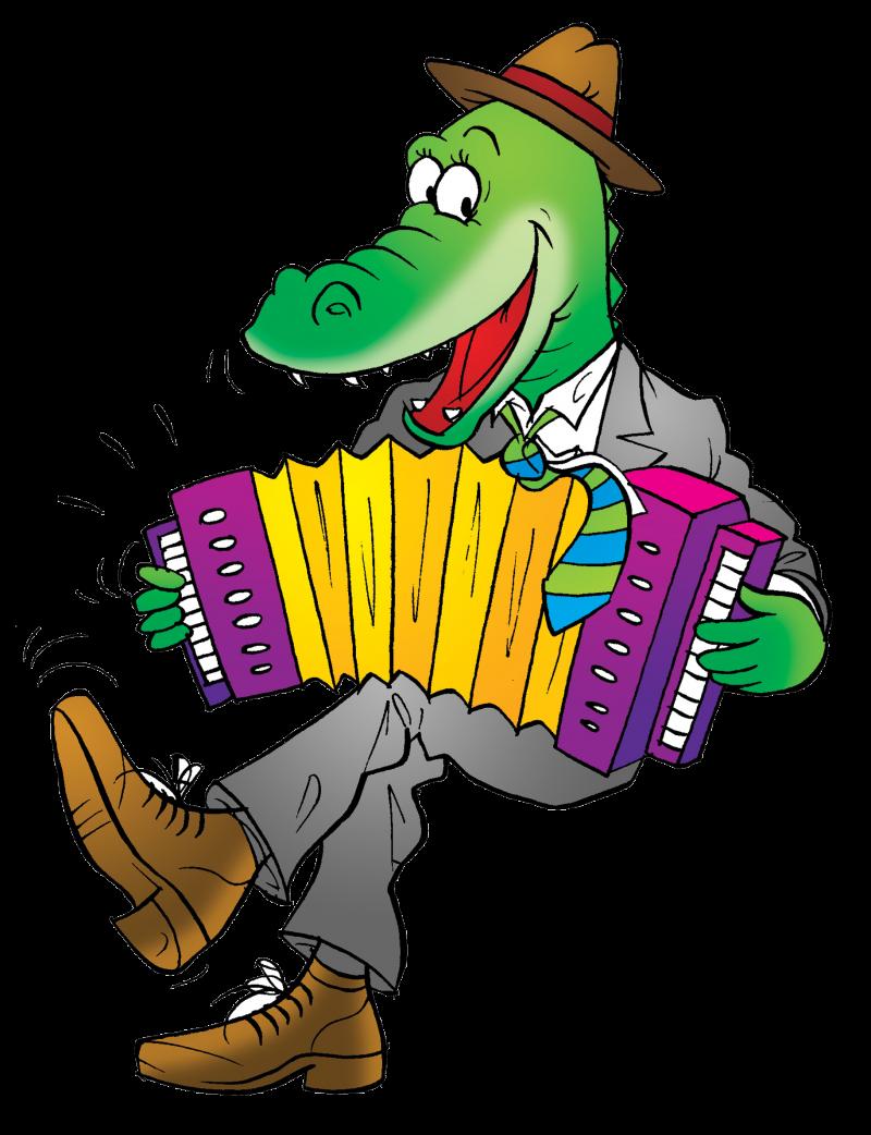 Alligator Crocodile Cartoon Cajun Accordion - Funny Crocodile (800x1042)