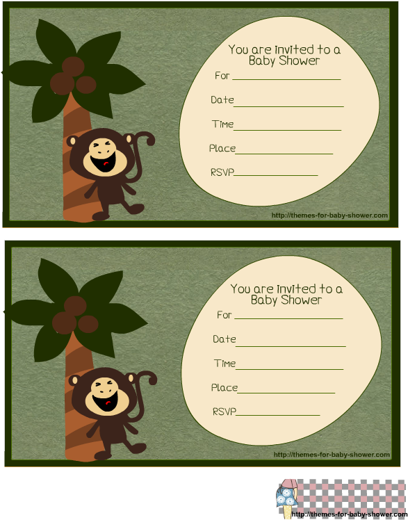 Free Printable Monkey Baby Shower Invitations Including