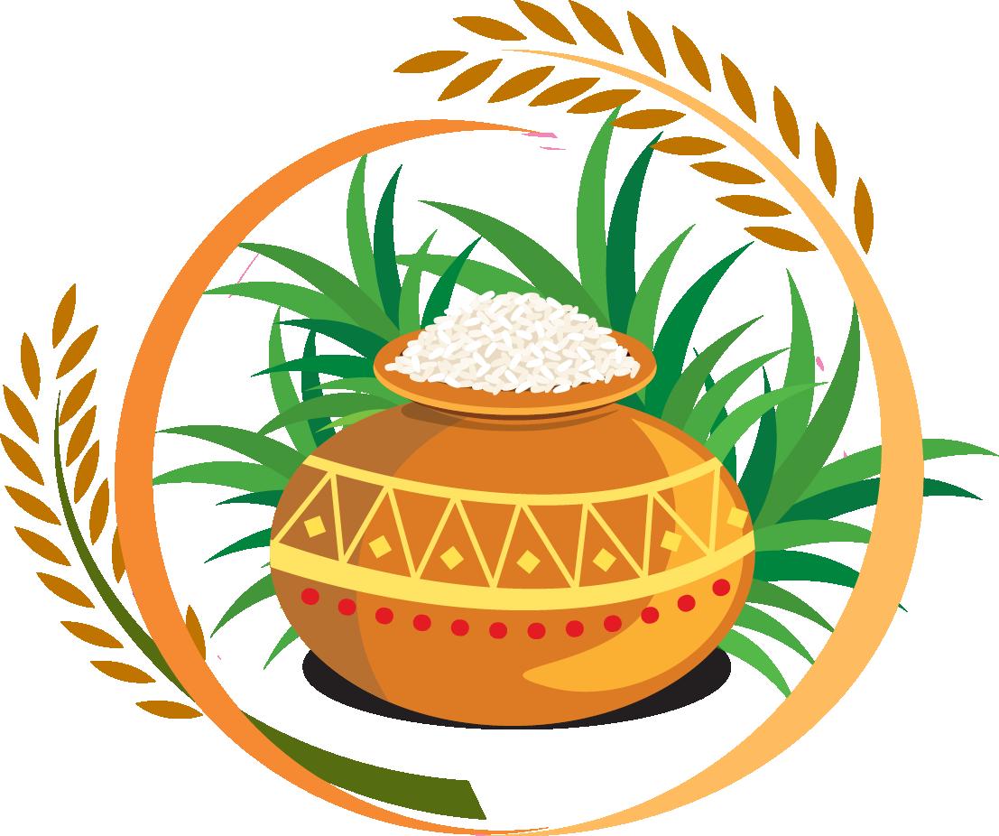 Thai Pongal Harvest Festival Clip Art - Happy Pongal Logo Png (1107x926)