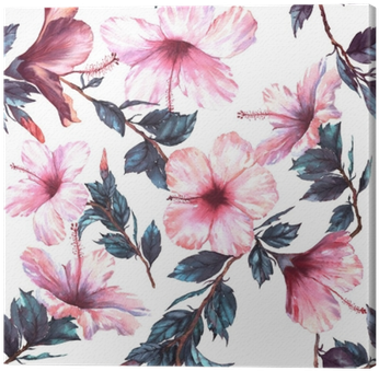 Hand-drawn Watercolor Floral Seamless Pattern With - Hibiscus Flower Png Watercolour (400x400)