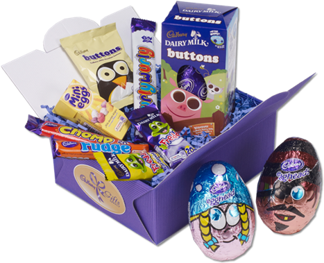 Perfect Kids Easter Hamper From Cadbury - Cadbury Dairy Milk Buttons Medium Egg - 4.5oz (128g) (470x412)