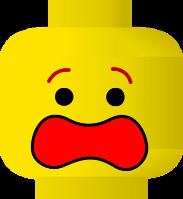 Lego Scared Face Clipart - Lego Face Clip Art (600x651)