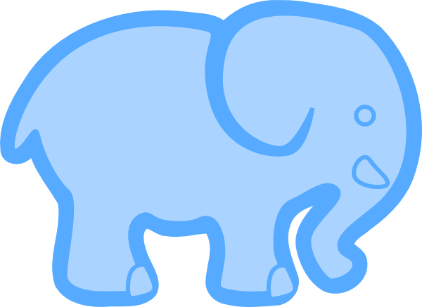 Baby Blue Elephant Clip Art - Blue Elephant Clip Art (600x437)