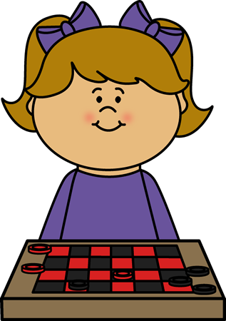 Girl Playing Checkers Clip Art - Girl Playing Games Clipart (317x450)