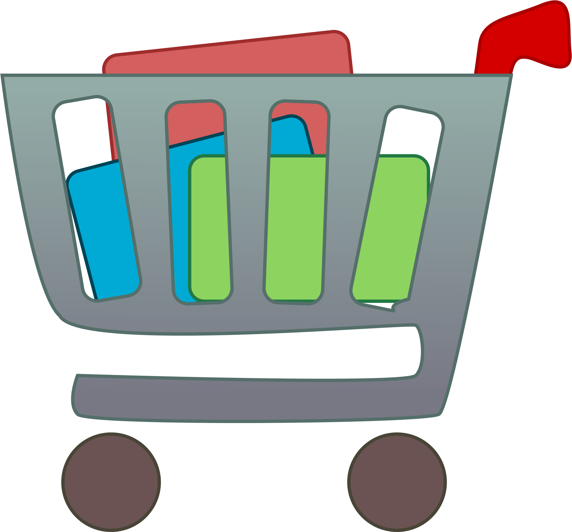 Grocery Shopping Clipart - Items In A Shopping Cart (2400x2400)