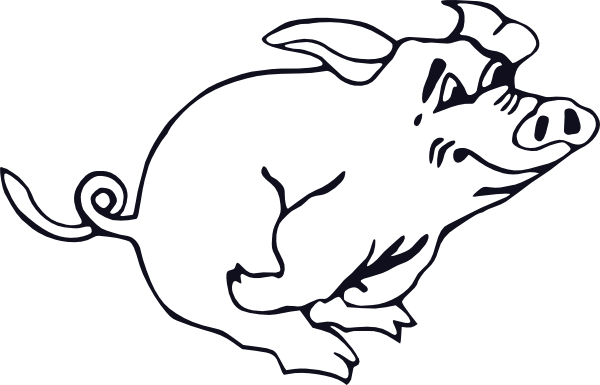Free Vector Outline Running Pig Clip Art - Snowball Animal Farm Black And White (600x385)
