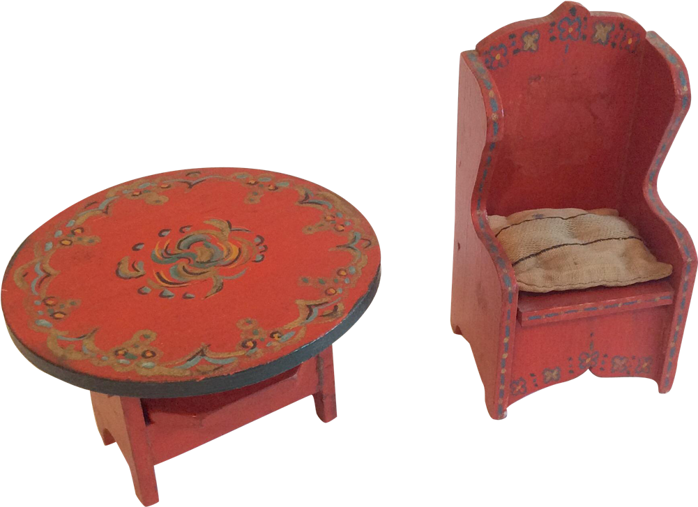 2 Painted Wood Antique Dollhouse Doll Furniture Chair - Coffee Table (1000x1000)