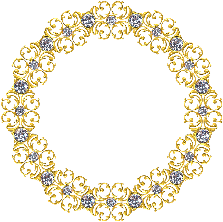 Gold, Frame, Round, Border, Decoration, Ornate, Antique - Gold Circle Frame Png (722x720)
