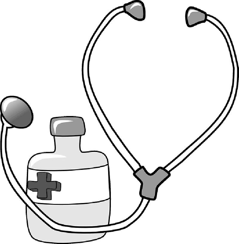 Red Black Outline Cross Drawing Doctor Nurse