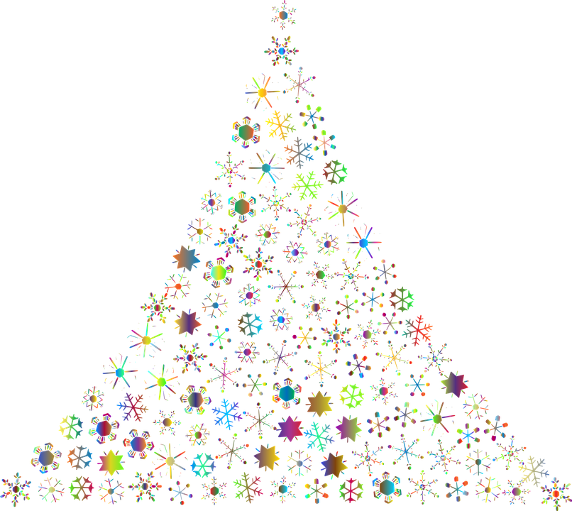 Christmas Tree Transparent Background.Blue And White Snowflake Abstract Tree In Christmas Tree