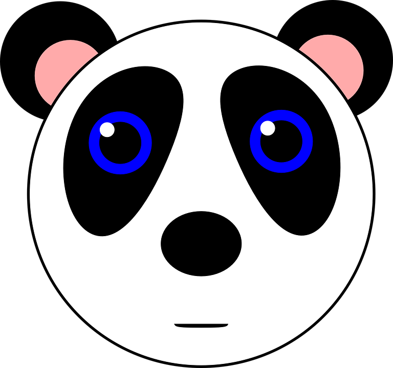 Panda Bear Animal Cute Black White Gambar Kartun Lucu Hitam Putih 768x720 Png Clipart Download