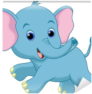 Cute Baby Elephant Cartoon Running Wall Mural • Pixers® - Baby Elephant Running Cartoon (400x400)
