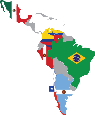 Latin America Map With Flags Clipart - Spanish Speaking ...