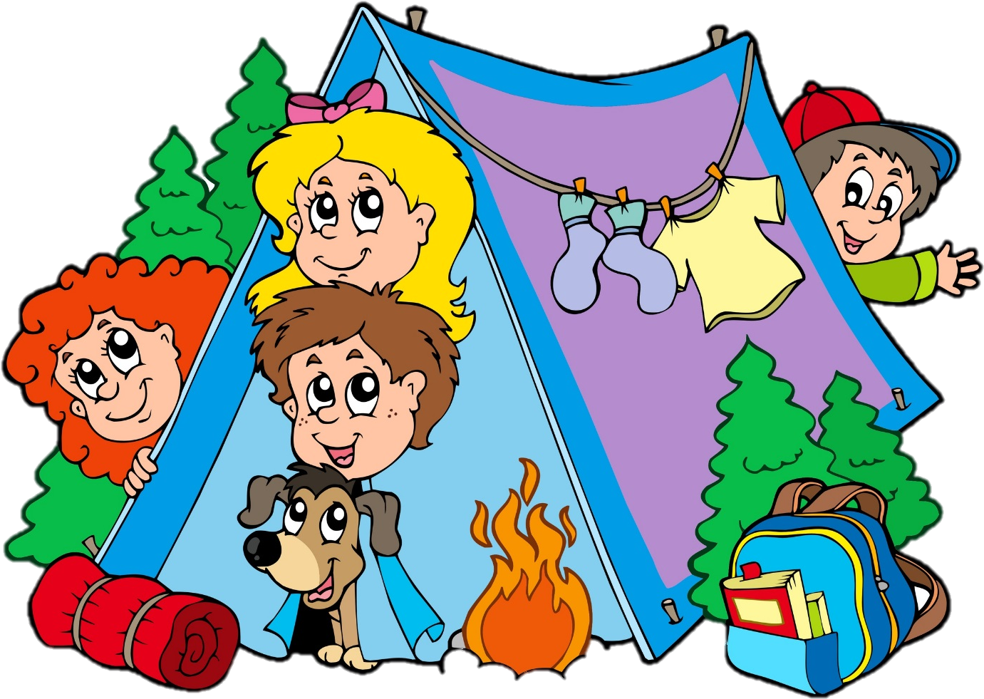 Camping Campsite Tent Family Clip Art - Kids Camping Clipart (1429x1057)