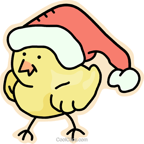 Santa's Helper Royalty Free Vector Clip Art Illustration - Chickens With Christmas Hat (478x480)