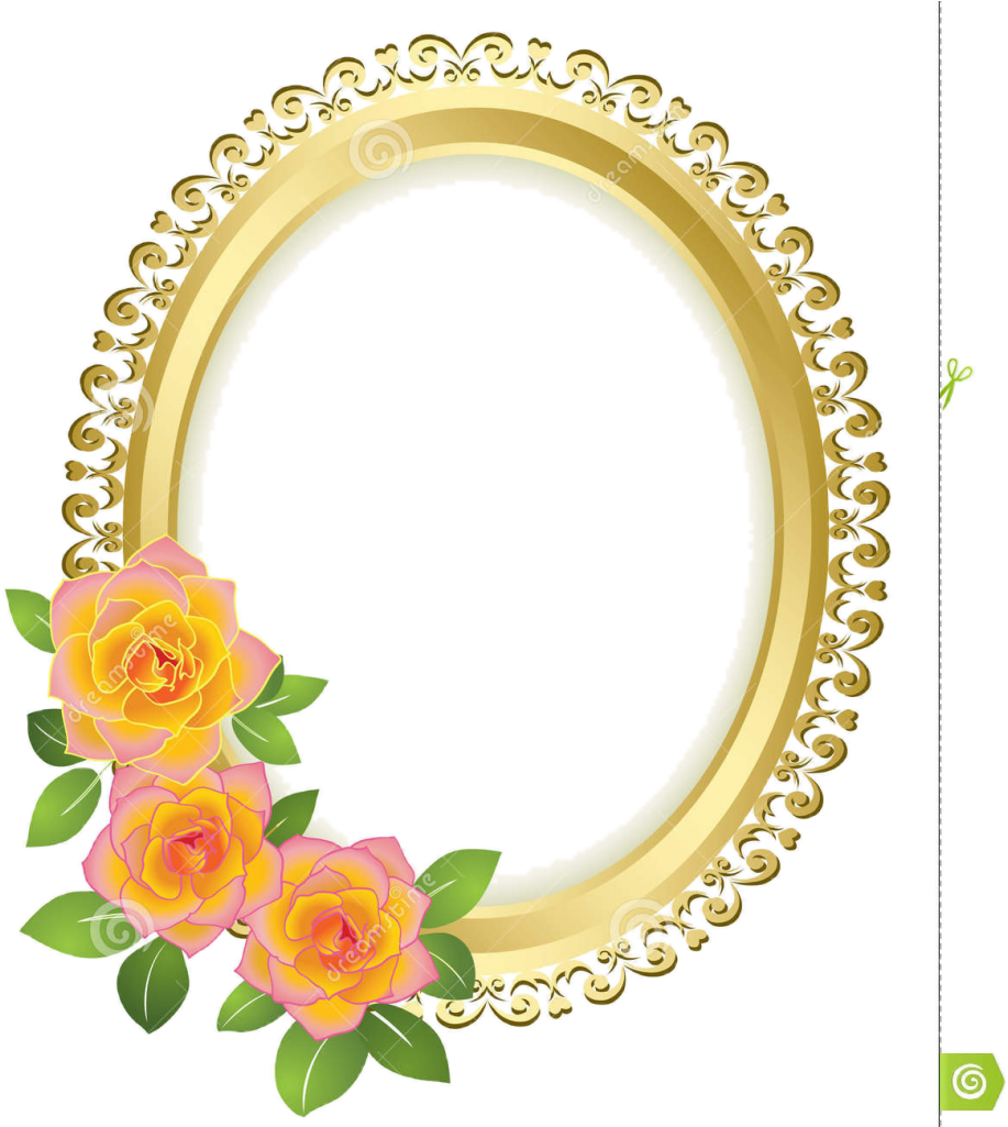 Borders And Frames Picture Frames Gold Flower - Oval Frame Png Flower (931x1024)
