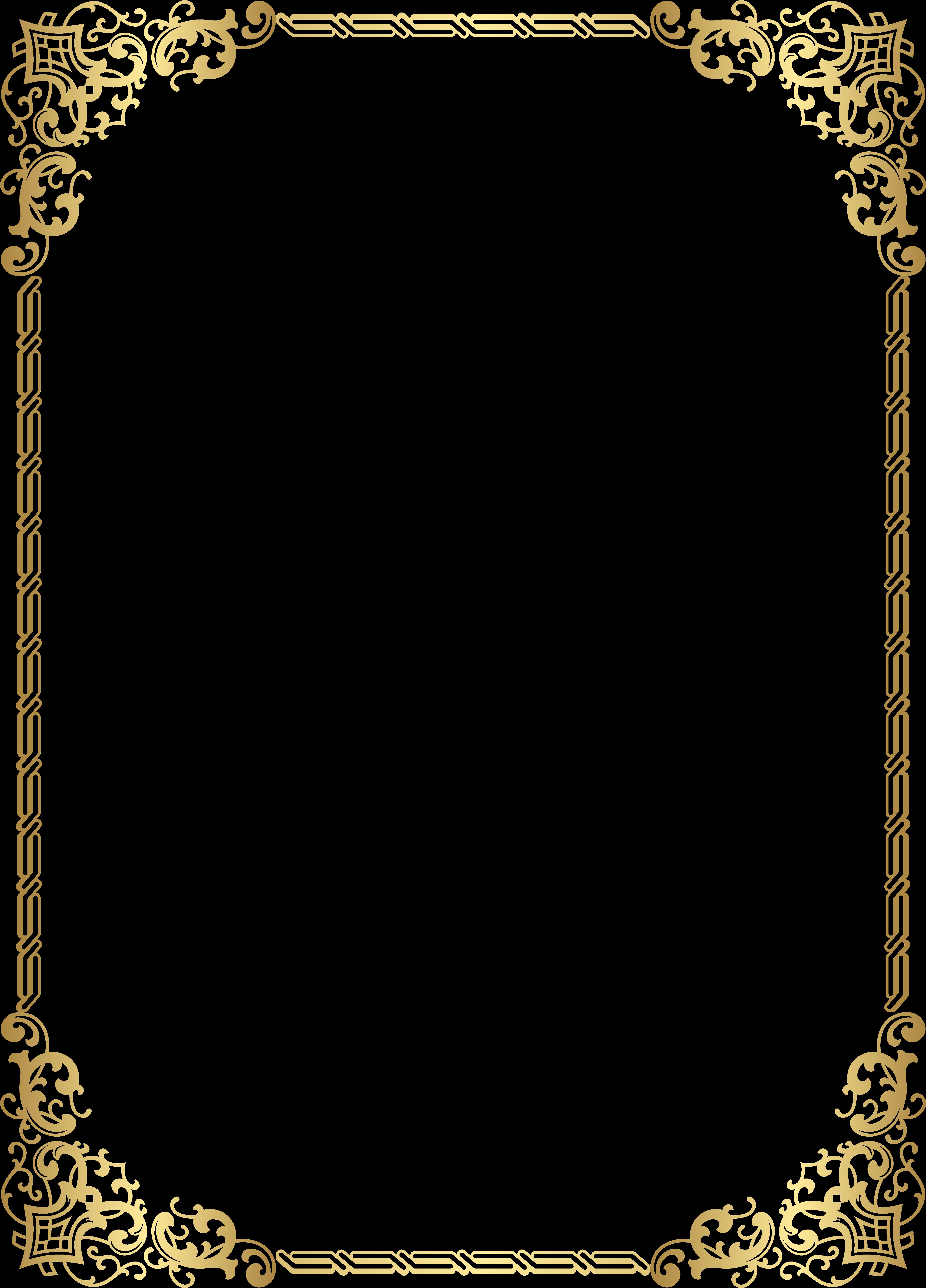Gold Border Frame Transparent Clip Art Image - Gold Border Clip Art (5753x8000)