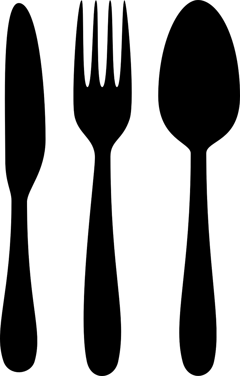 Chef Clipart Black And White - Spoon And Fork Png (817x1280)