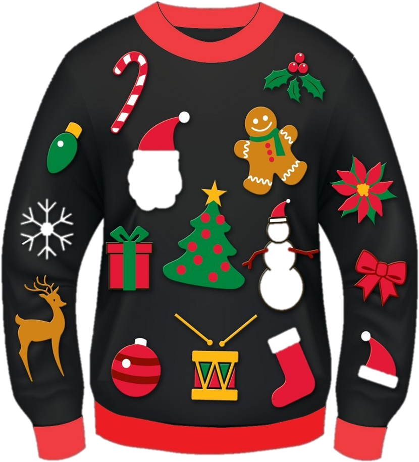 Let's Celebrate On Tuesday, December 19 Wear Your Ugliest - Christmas Ugly Sweater Clipart (975x1060)