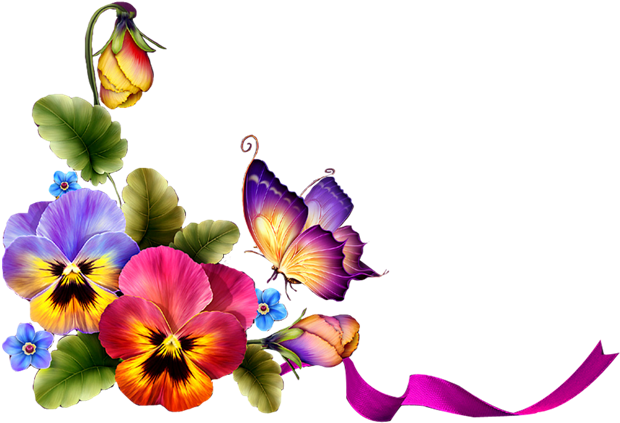 Grass With Pink Flowers Png Clipart - Borders And Frames With Butterfly (650x449)